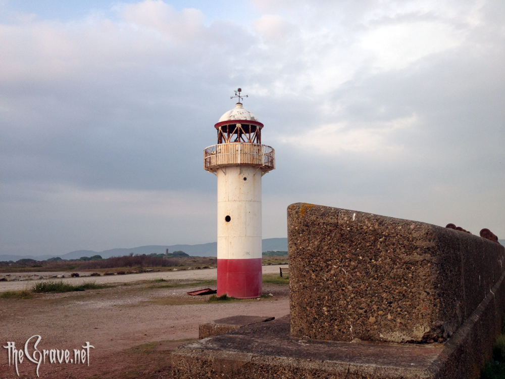 The derelict lighthouse at Hodbarrow mines and Millom ironworks